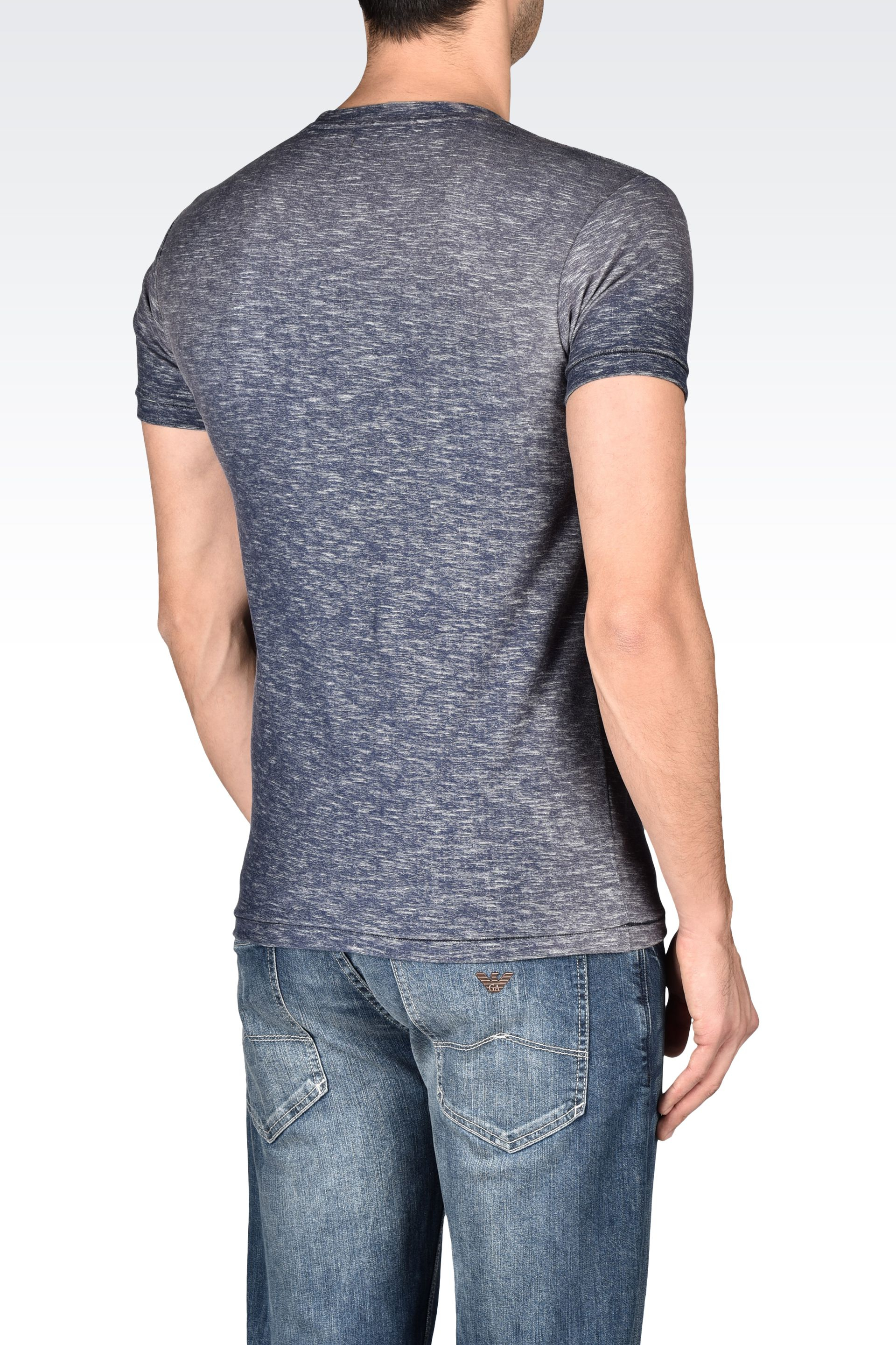 armani jeans t shirt in slub cotton jersey in blue for men. Black Bedroom Furniture Sets. Home Design Ideas