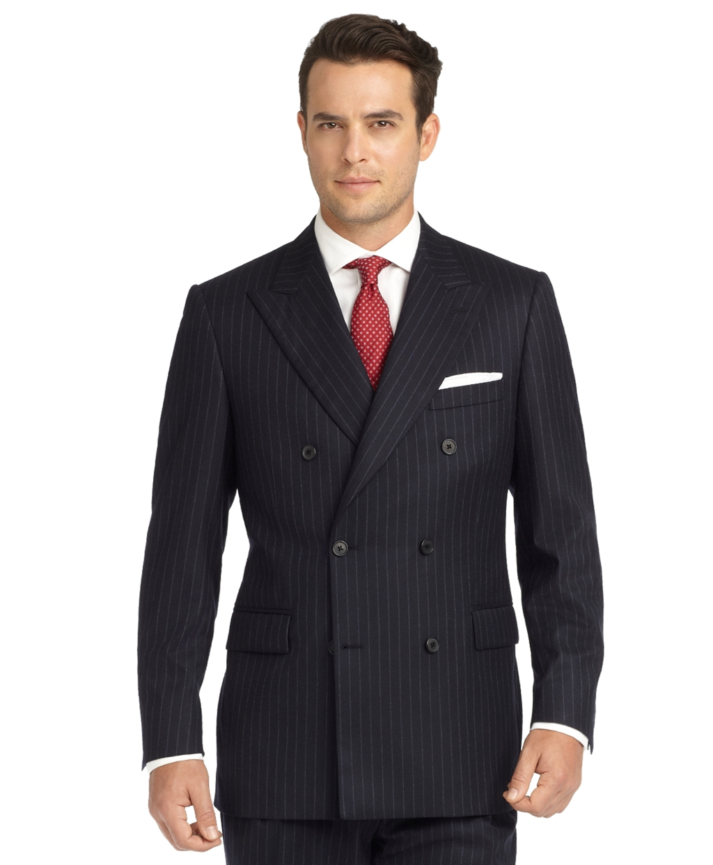 Brooks brothers Madison Fit Chalk Stripe Double-breasted Flannel ...