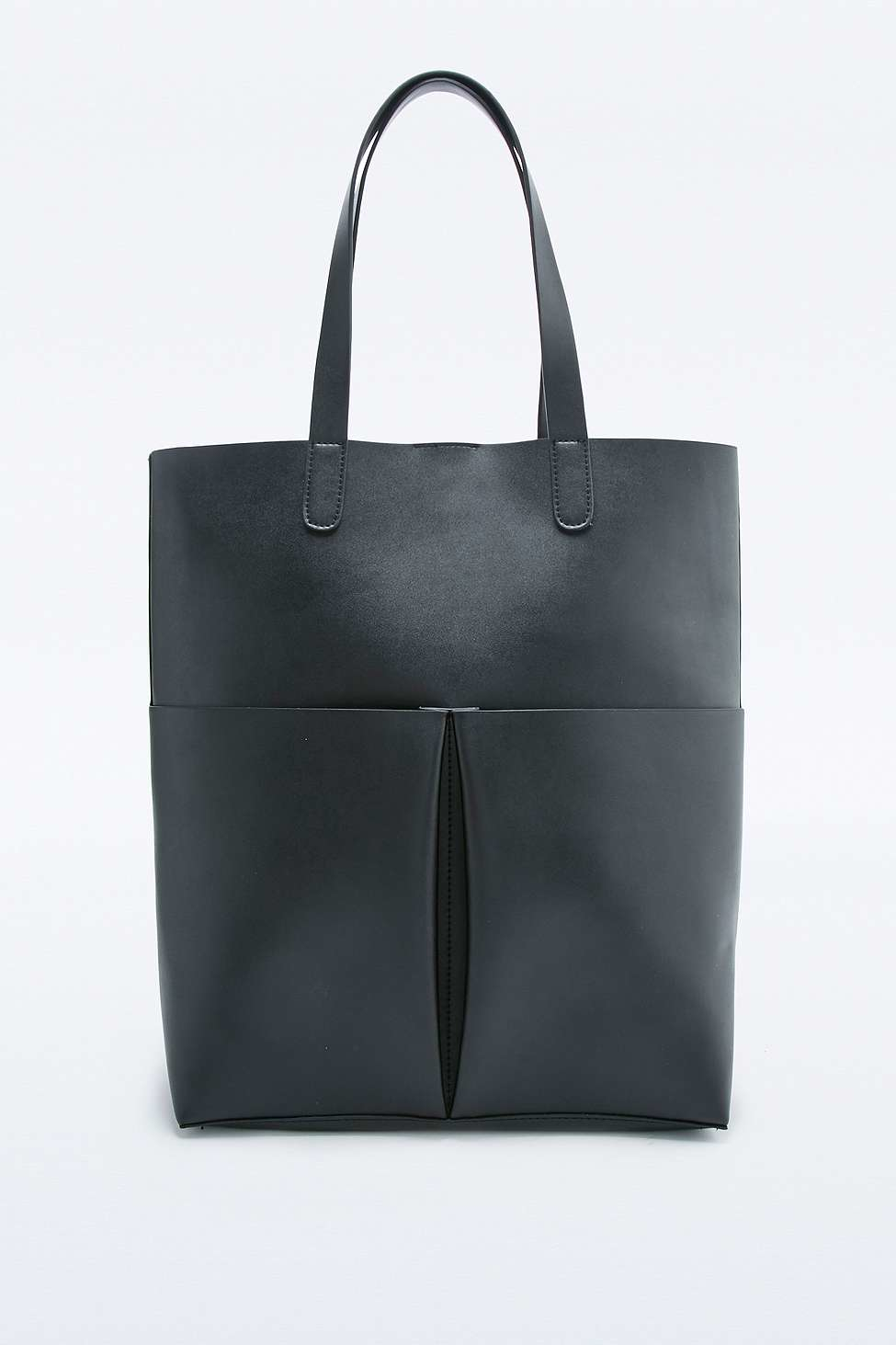Urban Outfitters Structured Double Pocket Black Tote Bag