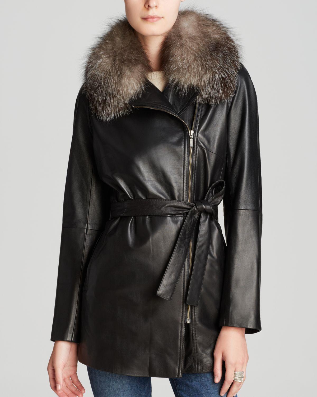 Maximilian Leather Jacket With Fox Fur Collar in Black
