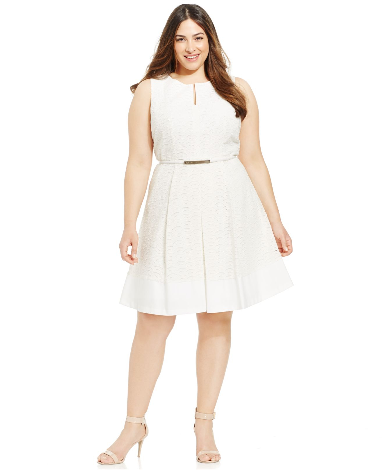 Plus Size Eyelet A-Line Belted Dress