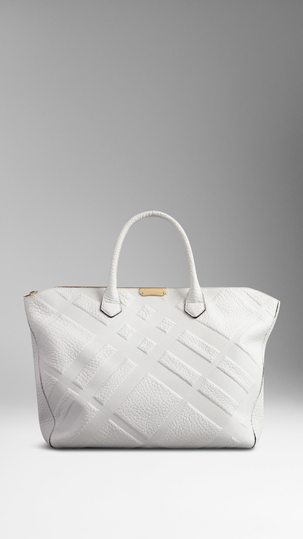 Large Embossed Check Leather Tote Bag
