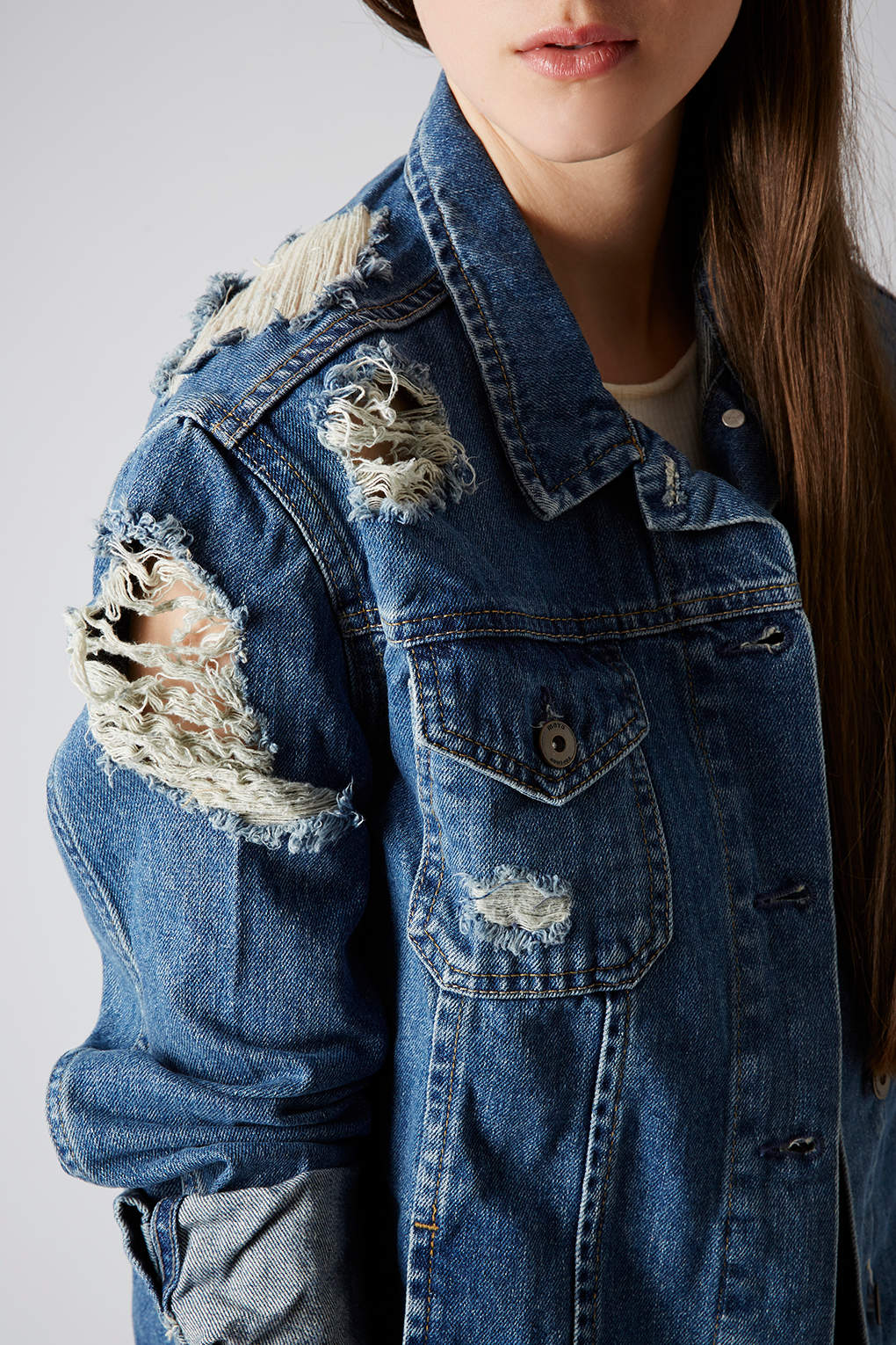 Lyst Topshop Moto Ripped Denim Jacket In Blue