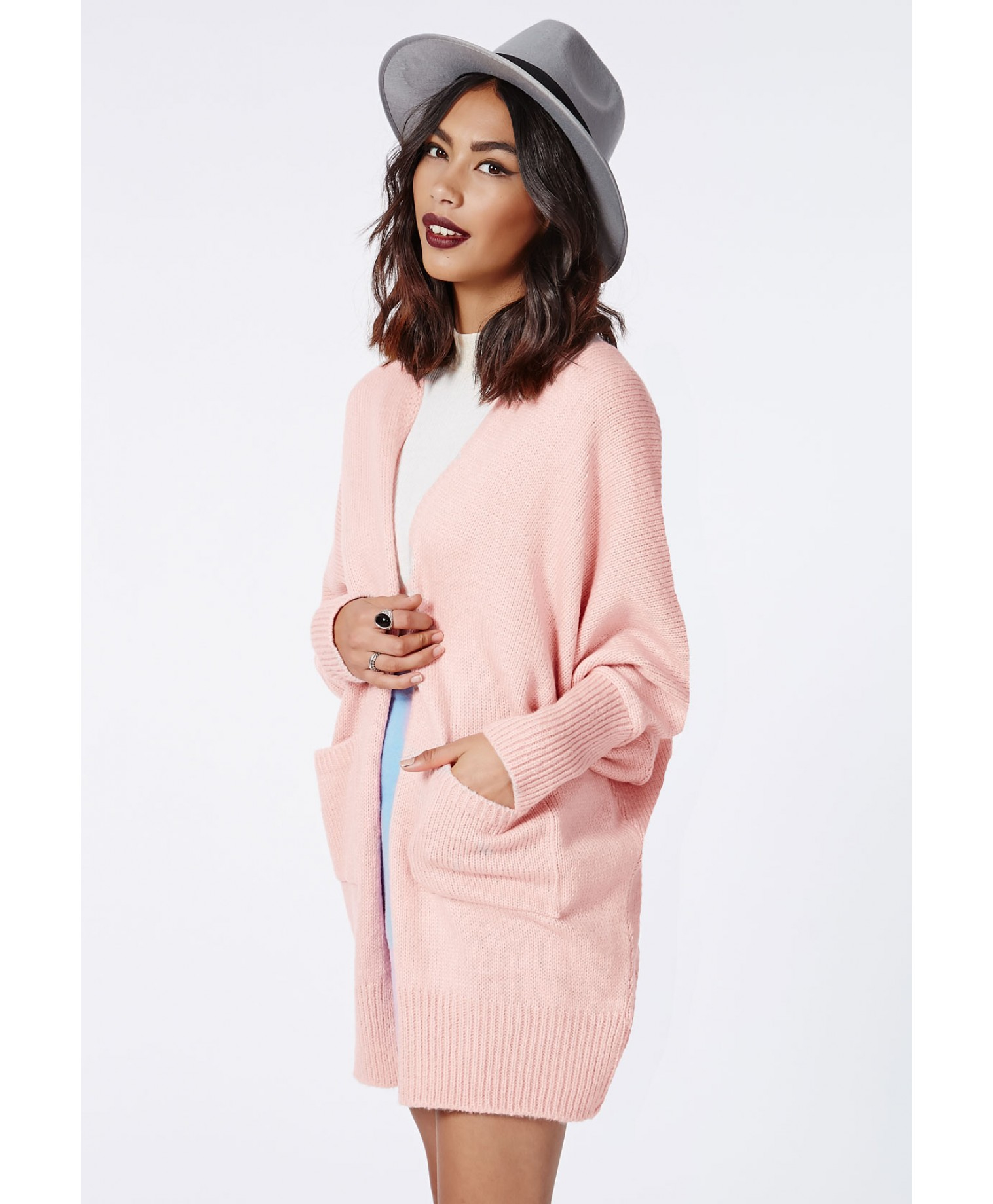 1078c32899 Lyst - Missguided Valene Oversize Batwing Slouch Cardigan Pale Pink ...