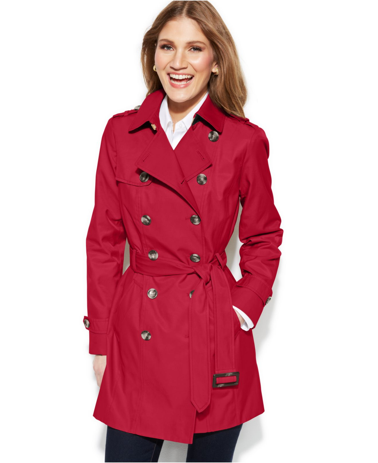 Jones new york Petite Double-Breasted Trench Coat in Red | Lyst