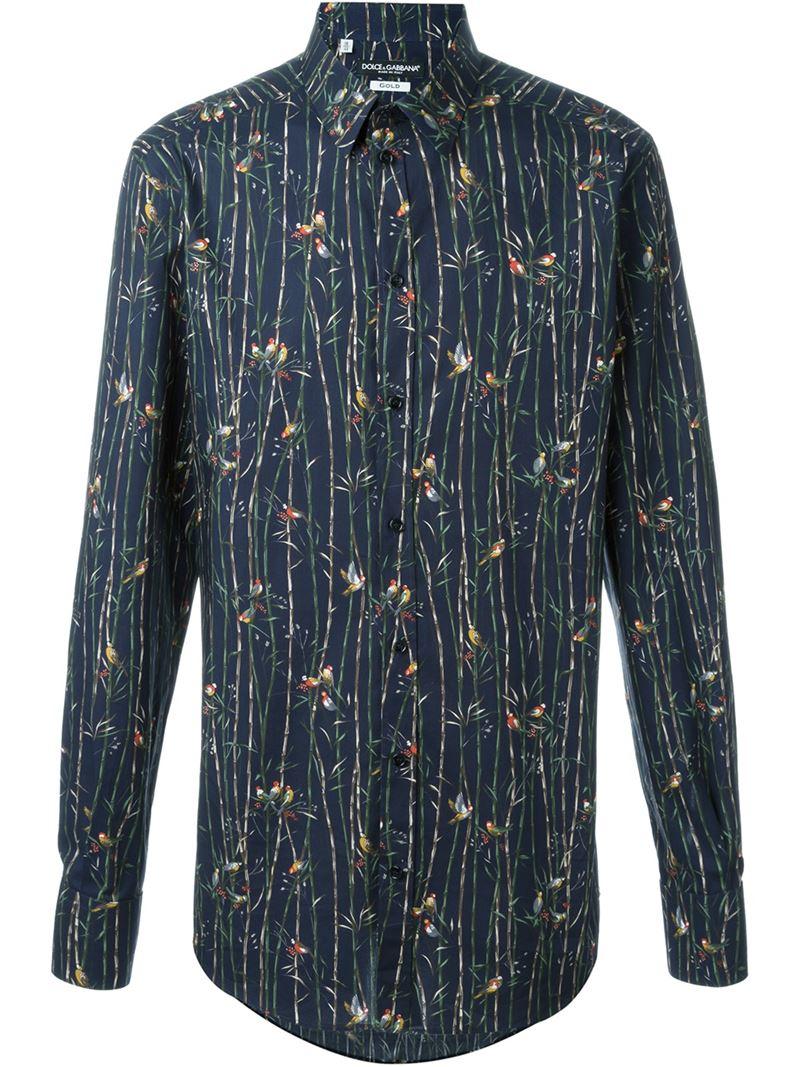 Dolce Gabbana Bird Print Shirt In Blue For Men Lyst