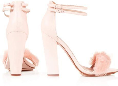 Topshop Rabbit Faux Fur Fluffy Sandals In Pink Lyst