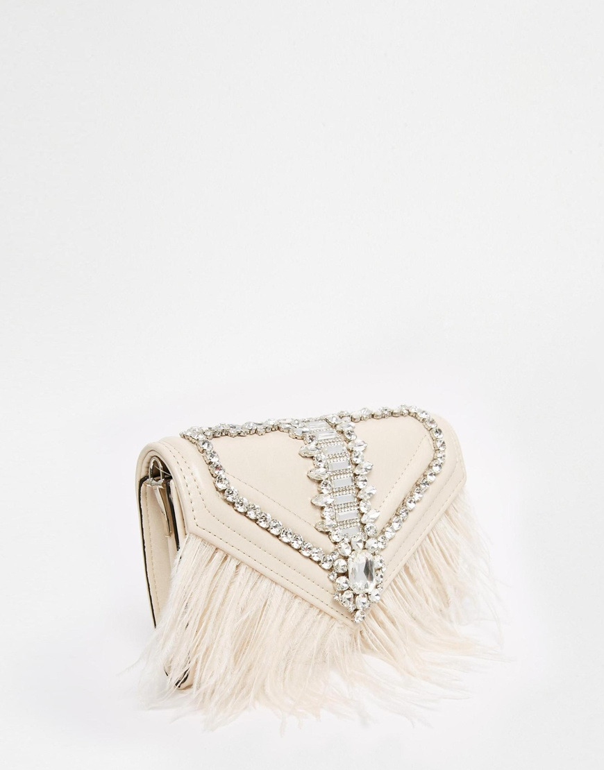 d48ae9b6ef2 Lyst Aldo Clutch Bag With Stone Feather Detailing In Metallic