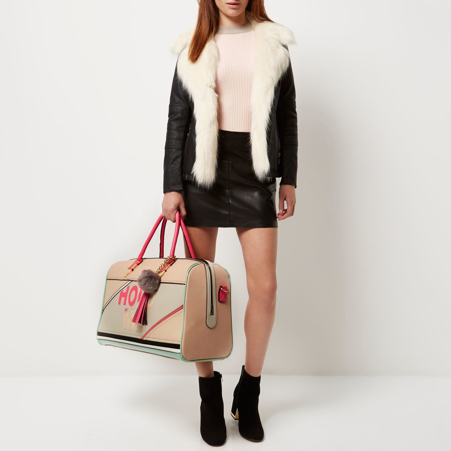 River Island Light Pink Hold Me Weekend Bag In Pink Lyst