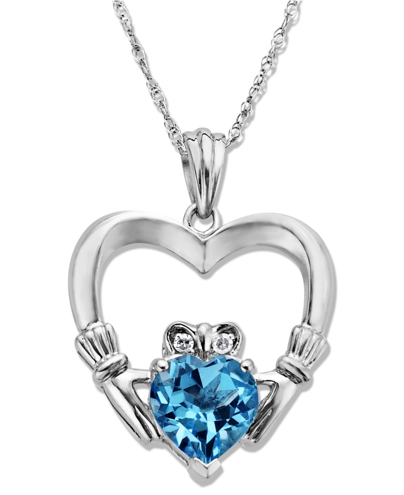 macy s sterling silver necklace blue topaz 1 5 8 ct t w