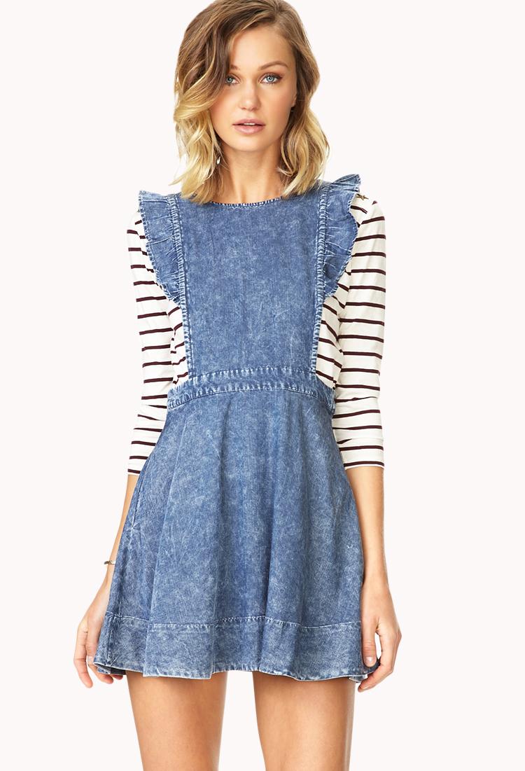 Lyst Forever 21 Darling Denim Pinafore Dress In Blue