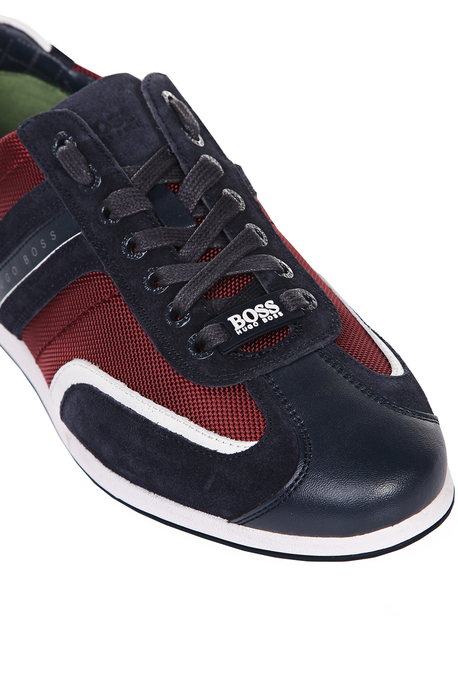 lyst boss green 39 stiven 39 suede trim sneakers in red for men. Black Bedroom Furniture Sets. Home Design Ideas