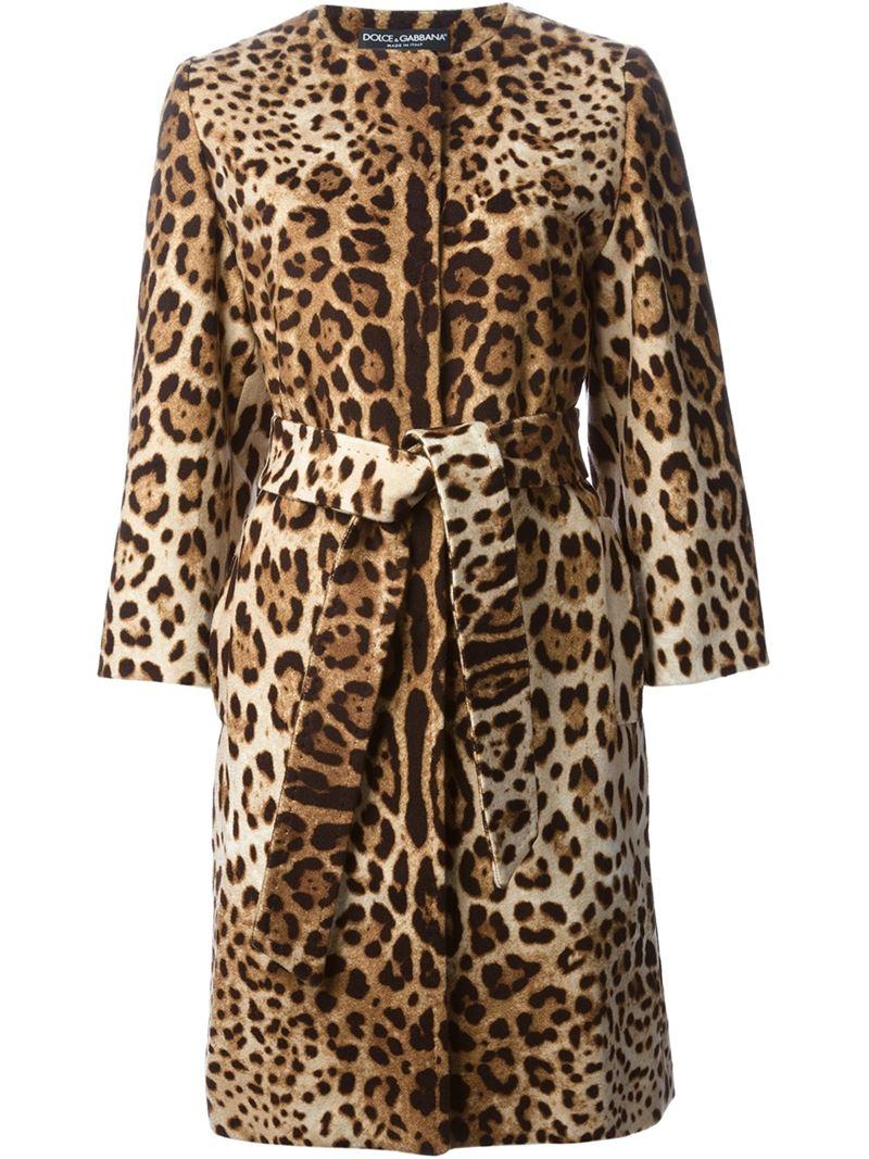 b98d02b66875 Dolce & Gabbana Leopard Print Coat in Brown - Lyst