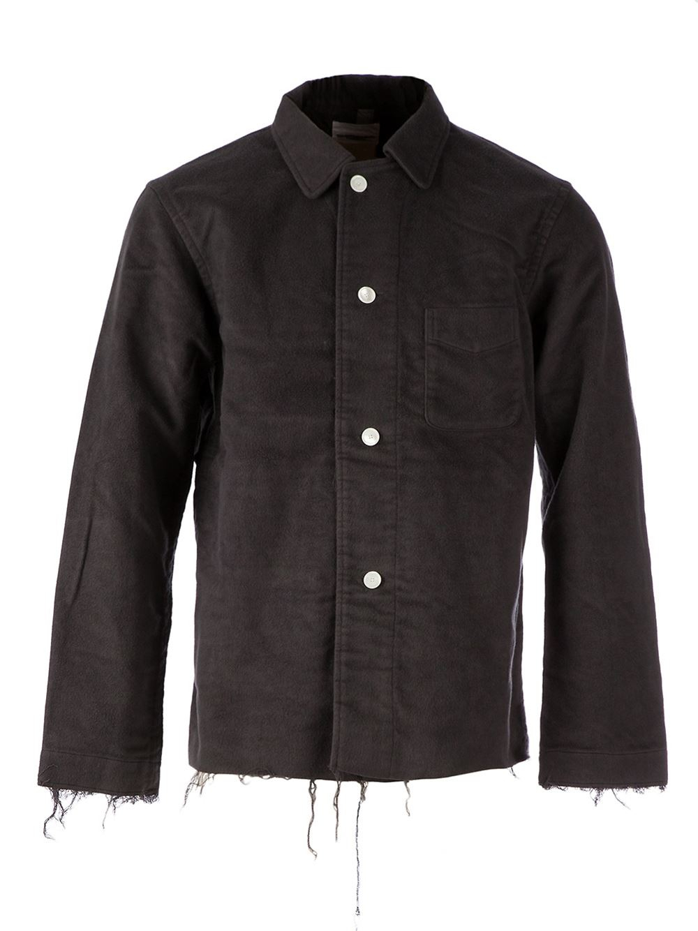 The Soloist Raw Hem Shirt Jacket In Gray For Men Lyst