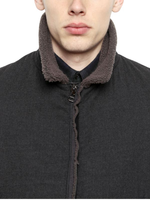 Lanvin Shearling Wool Flannel Aviator Jacket in Dark Grey (Grey) for Men