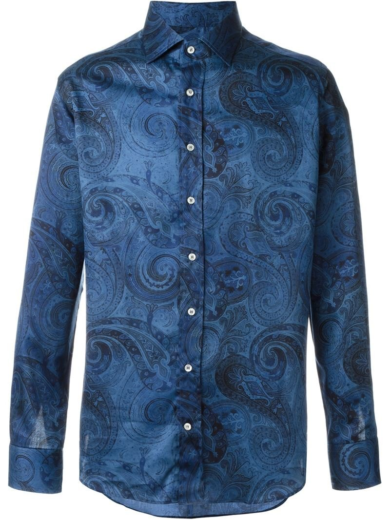 Etro paisley print shirt in blue for men lyst for Etro men s shirts