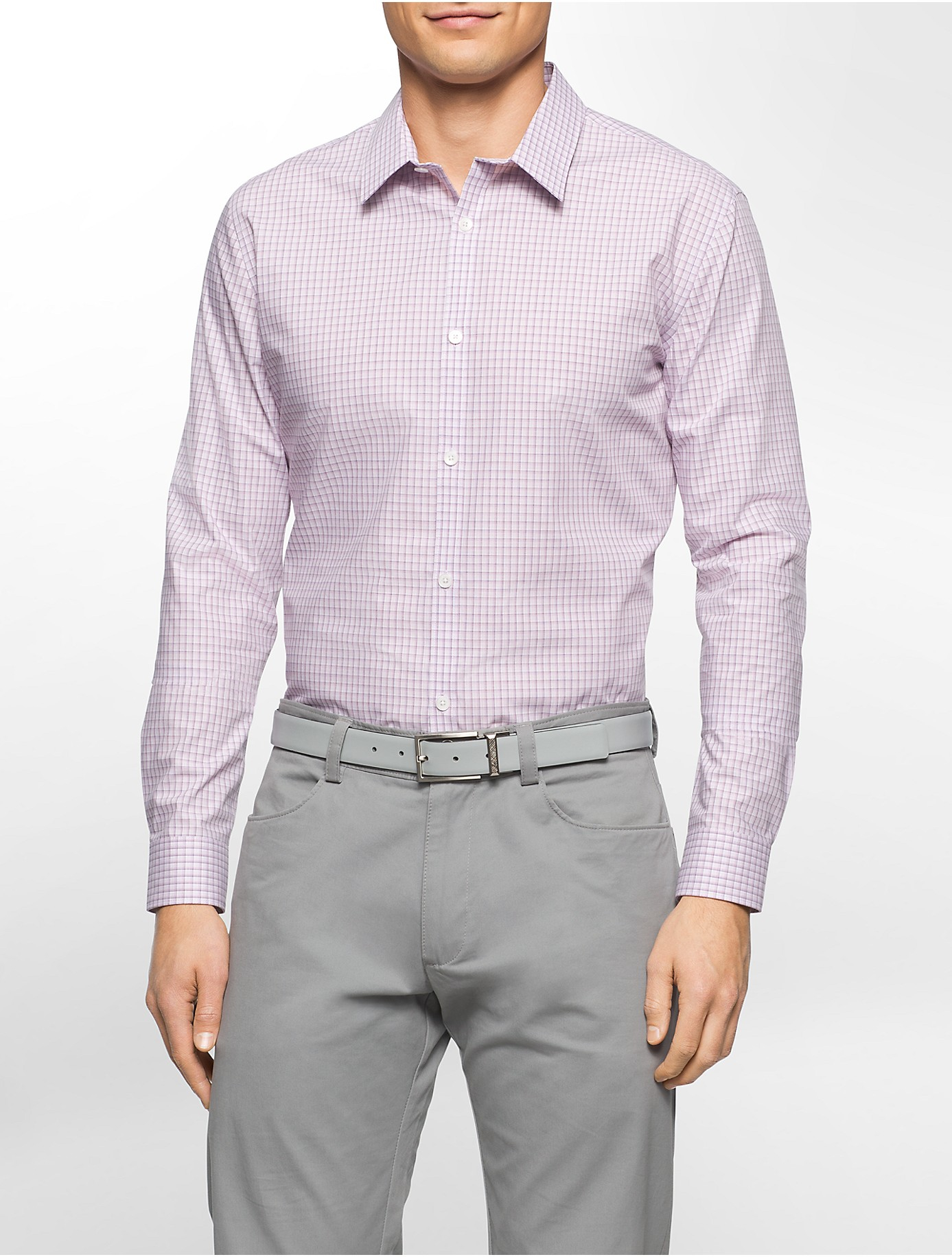 Calvin Klein Mens Fitted Dress Shirts Rldm