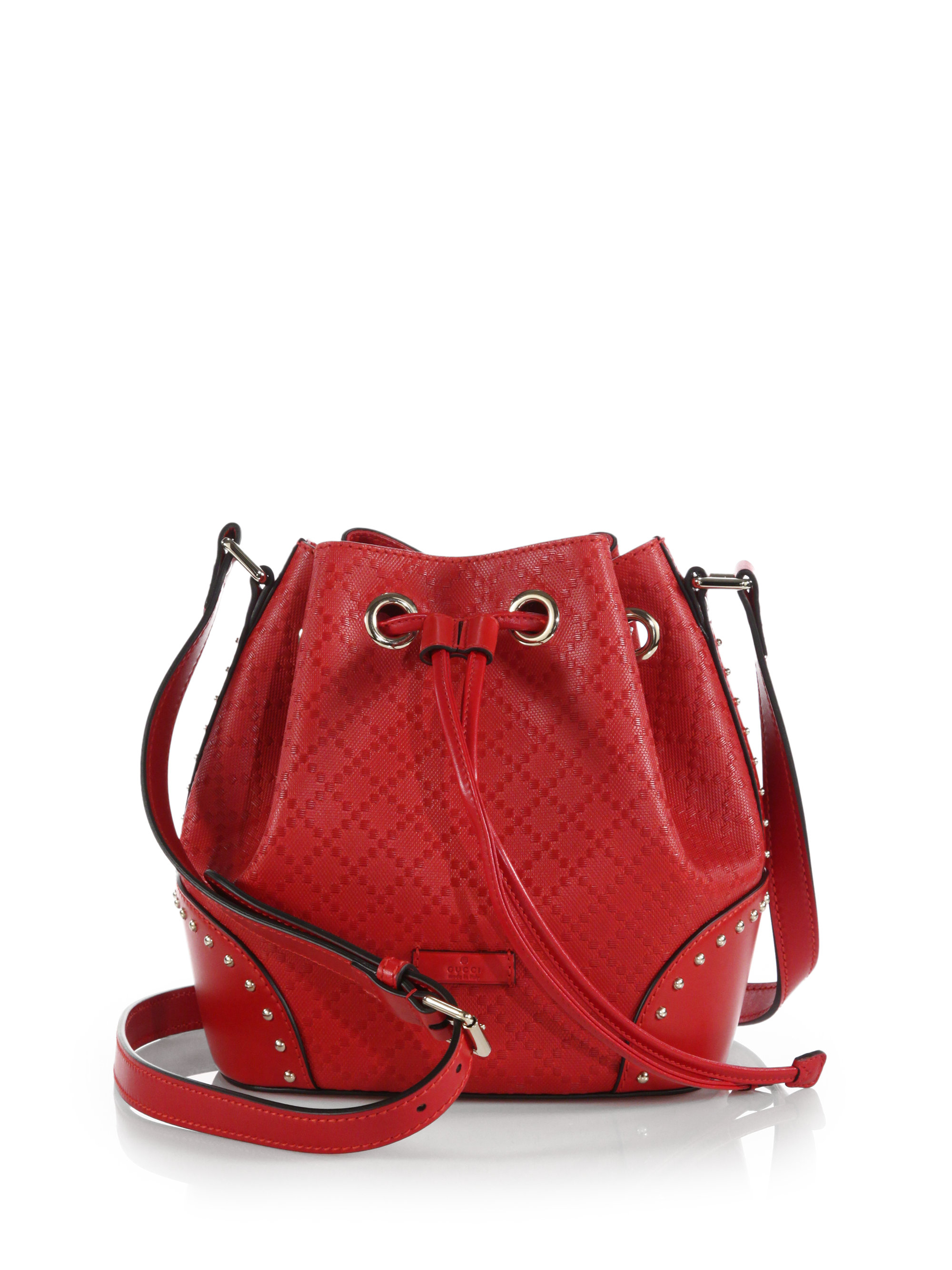 005dd3c443aa94 Gucci Bright Diamante Leather Bucket Bag in Red - Lyst
