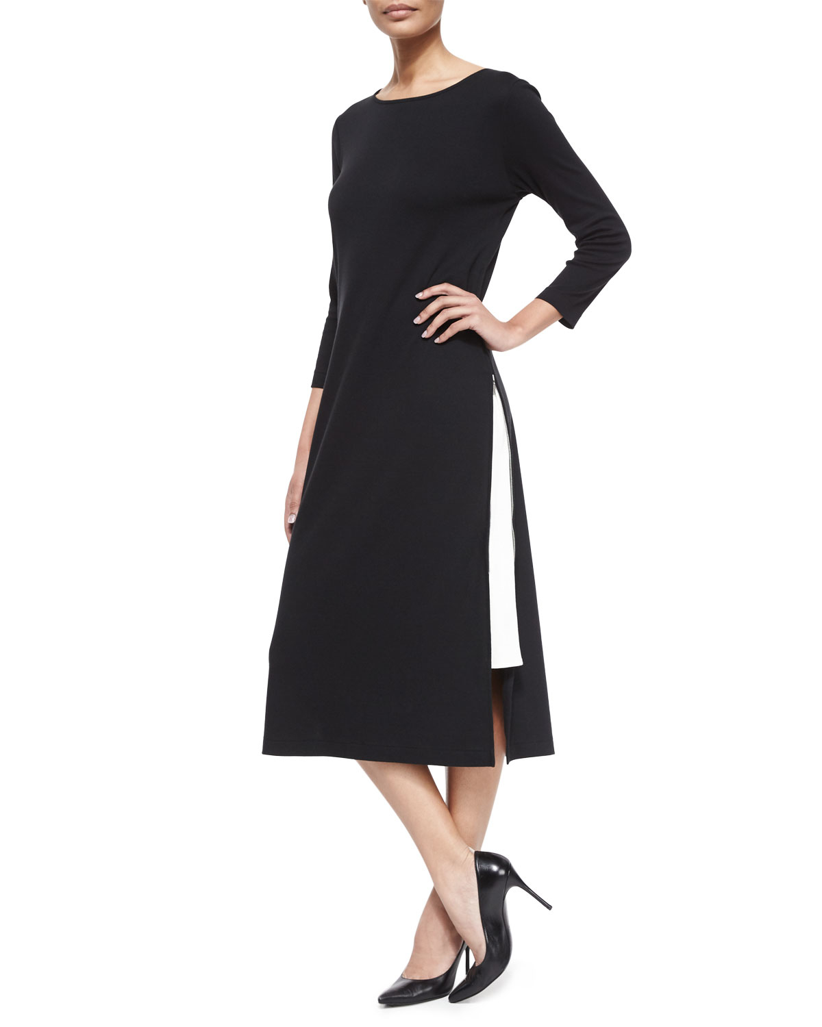 Joan Vass Long Zipper Dress W/ Contrast Gusset In Black