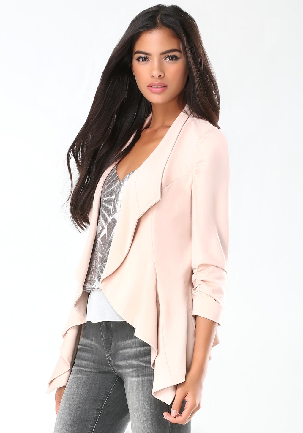 Bebe Ponte Waterfall Jacket in Pink | Lyst