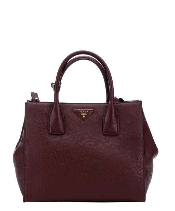 Prada Burgundy Leather Logo Stamp Convertible Top Handle Bag in ...