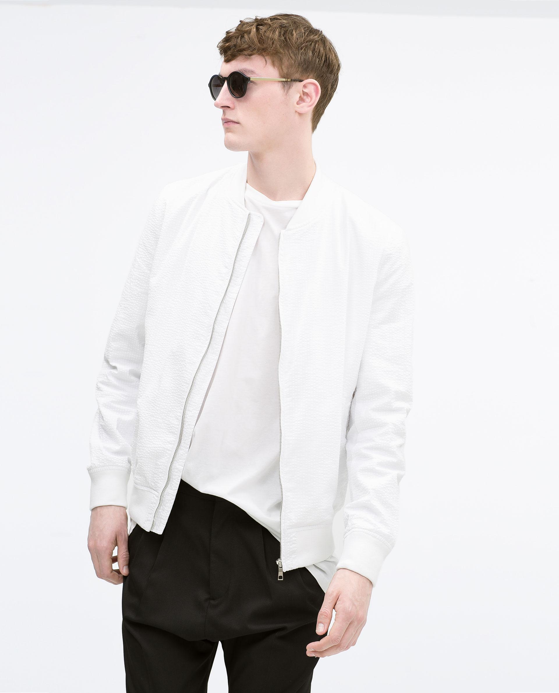 Zara Seersucker Bomber Jacket Seersucker Bomber Jacket in White
