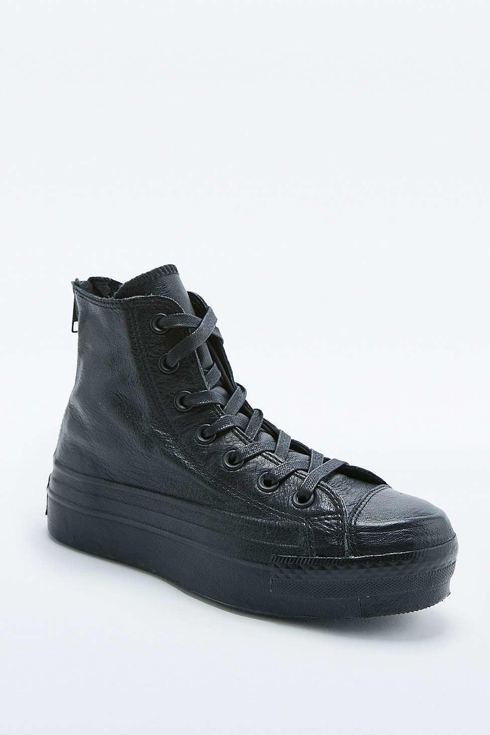 converse leather platform