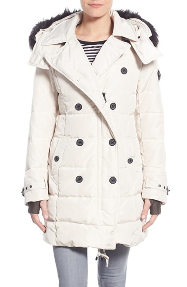 585fb4359f0d Lyst - Nanette Lepore Hooded Down Peacoat With Faux Fur Trim in Natural