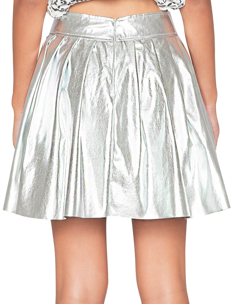 pixie market silver pleated skirt in silver lyst