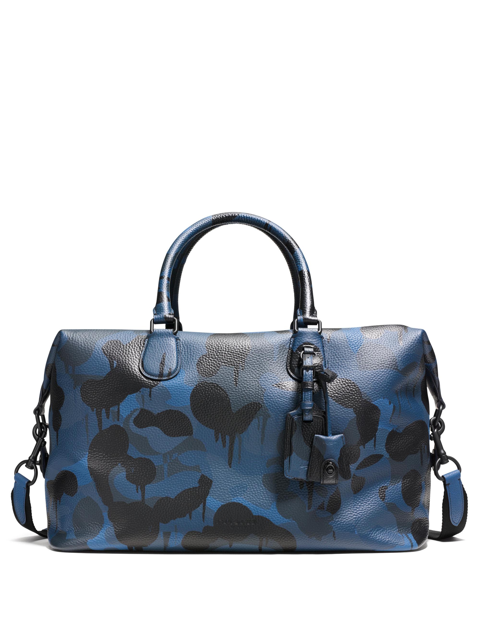 713d995f8c Lyst - COACH Explorer Camo-print Leather Duffle Bag in Blue