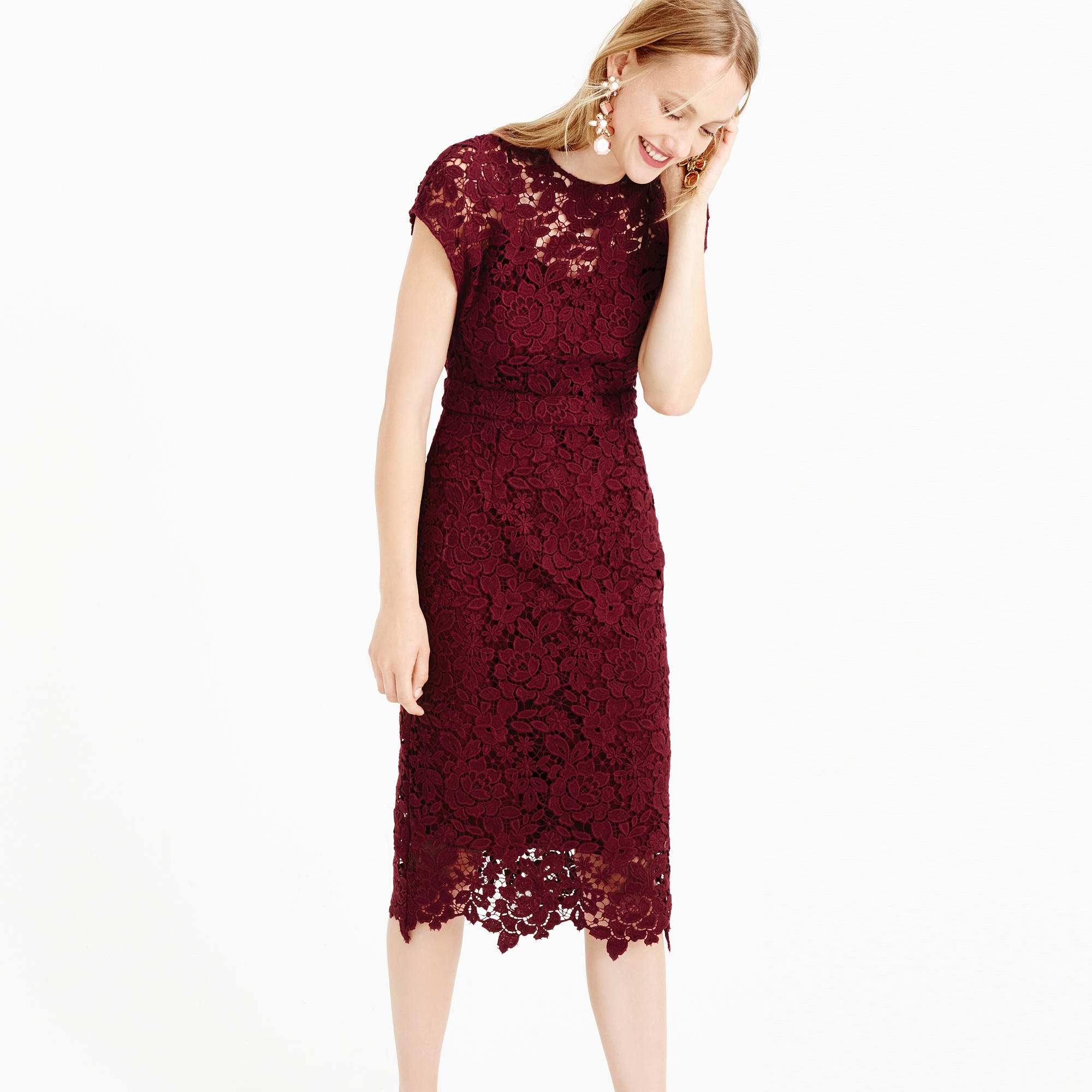 J.crew Collection Scalloped Lace Dress In Purple (dark