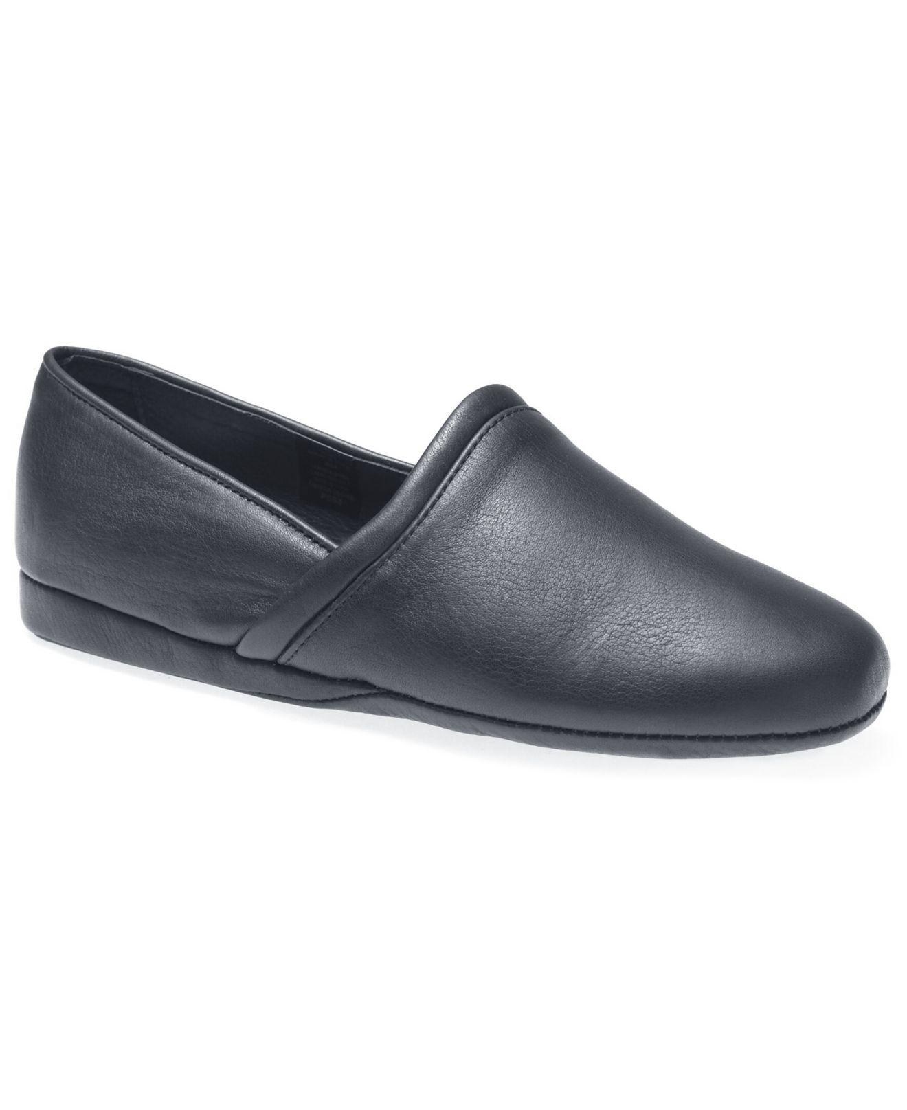 L.B. Evans Mens Roderic Black Leather Slip-On Slippers 11