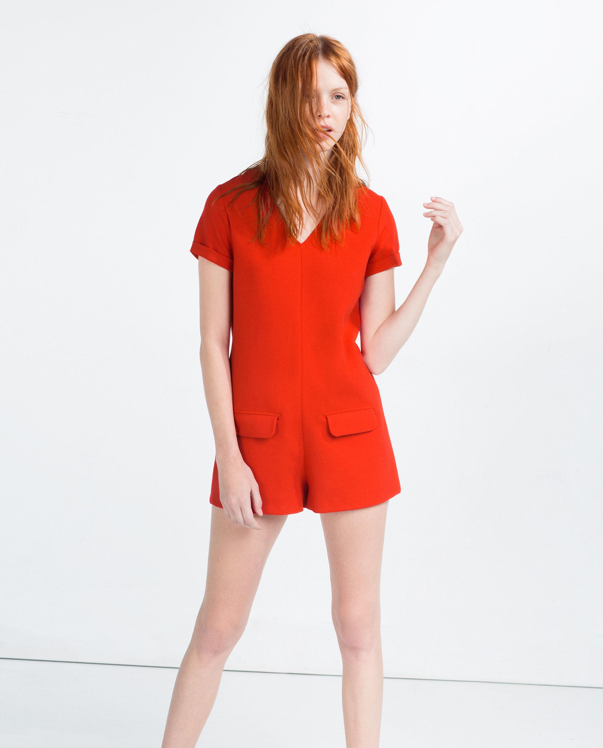 Zara Short Jumpsuit in Orange   Lyst
