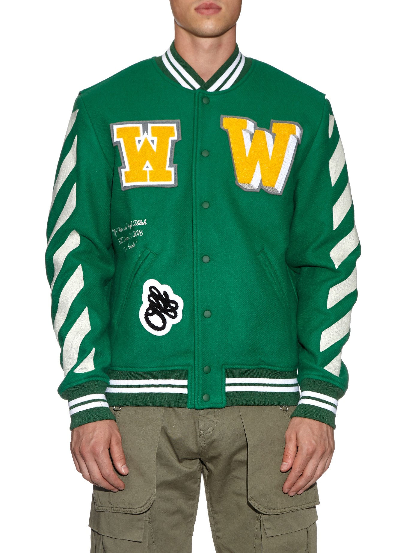 Off-White c/o Virgil Abloh Letterman Wool-blend Varsity Jacket in Green for Men