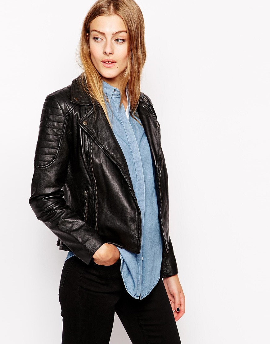 132117d8f Barney's Originals Black Leather Biker Jacket With Quilting And Buckle  Detail
