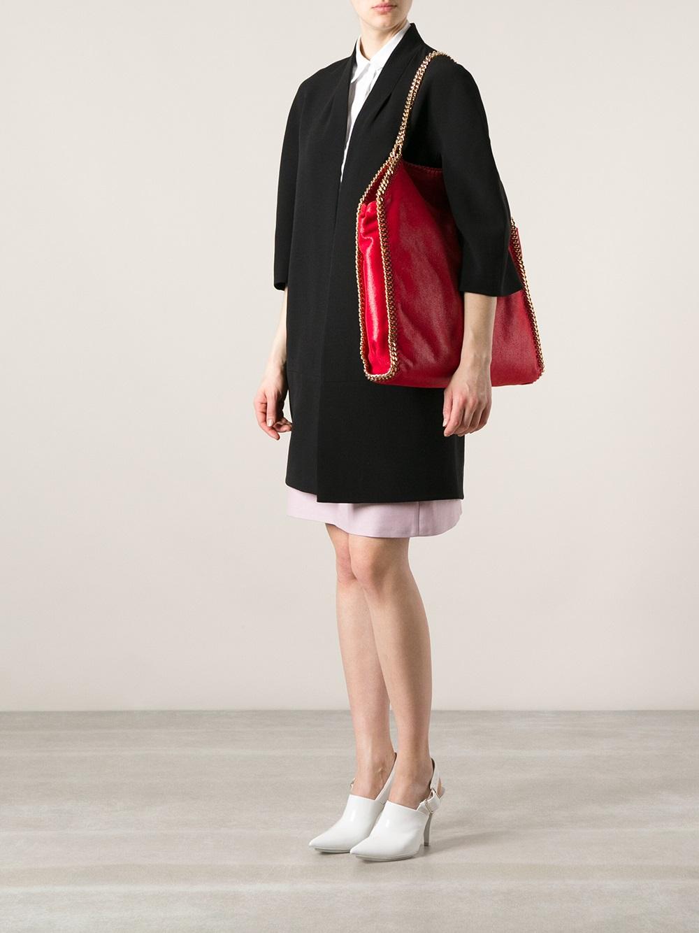lyst stella mccartney falabella large shoulder bag in red. Black Bedroom Furniture Sets. Home Design Ideas