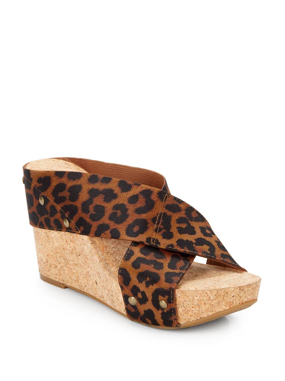 3a873c9b44f Lyst - Lucky Brand Miller 2 Leopard-Print Crisscross Wedge Sandals