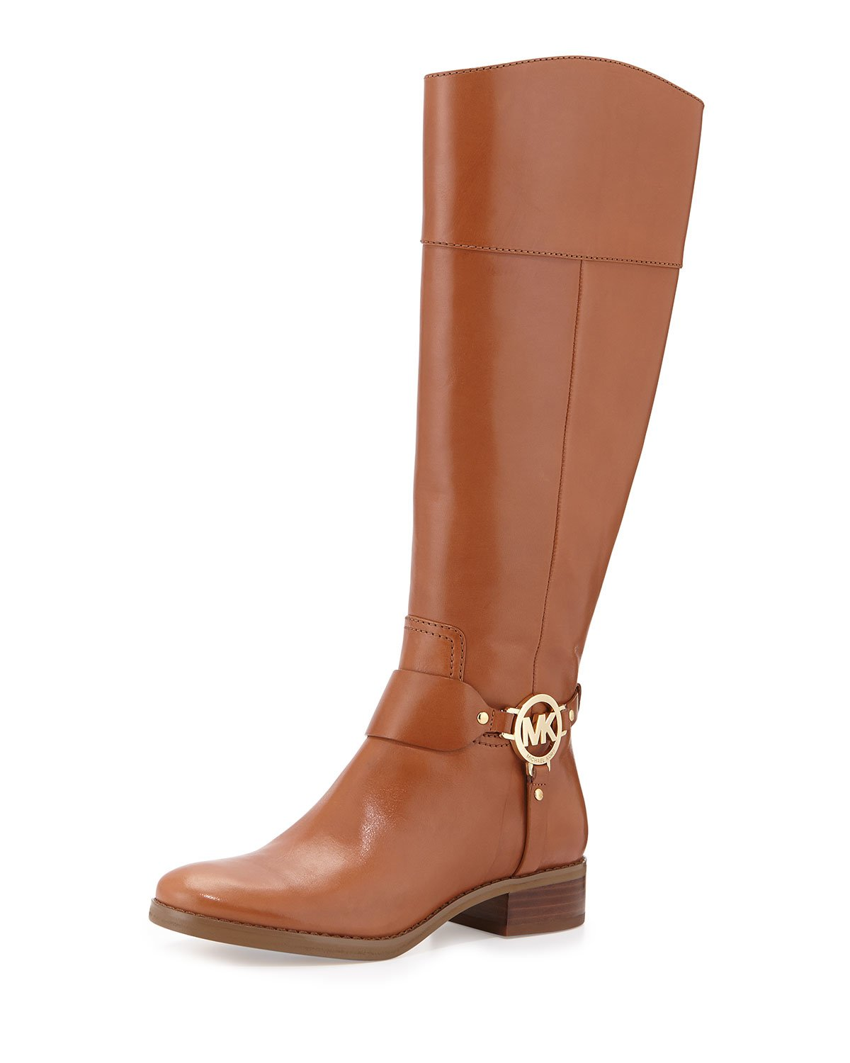 michael michael kors fulton harness leather riding boots in brown luggage lyst. Black Bedroom Furniture Sets. Home Design Ideas