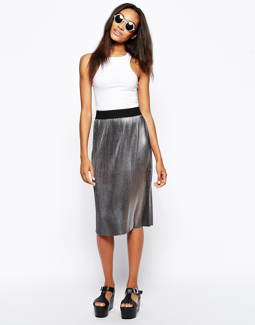 Asos Midi Skirt In Pleated Metallic in Metallic | Lyst