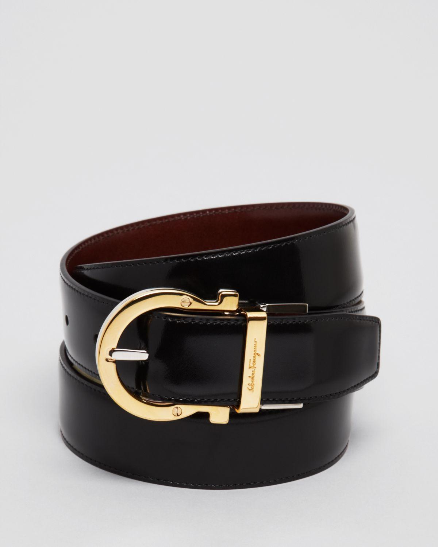 Ferragamo Reversible Twirl Flip Buckle Belt In Black For
