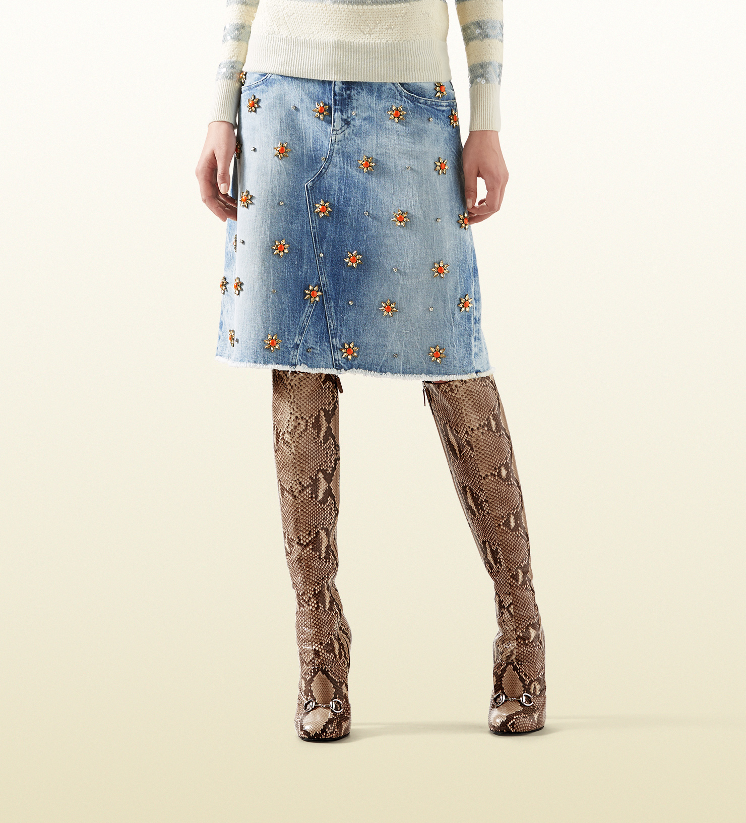 38918306aa33e Lyst - Gucci Denim Skirt With Crystal Embroidery in Blue