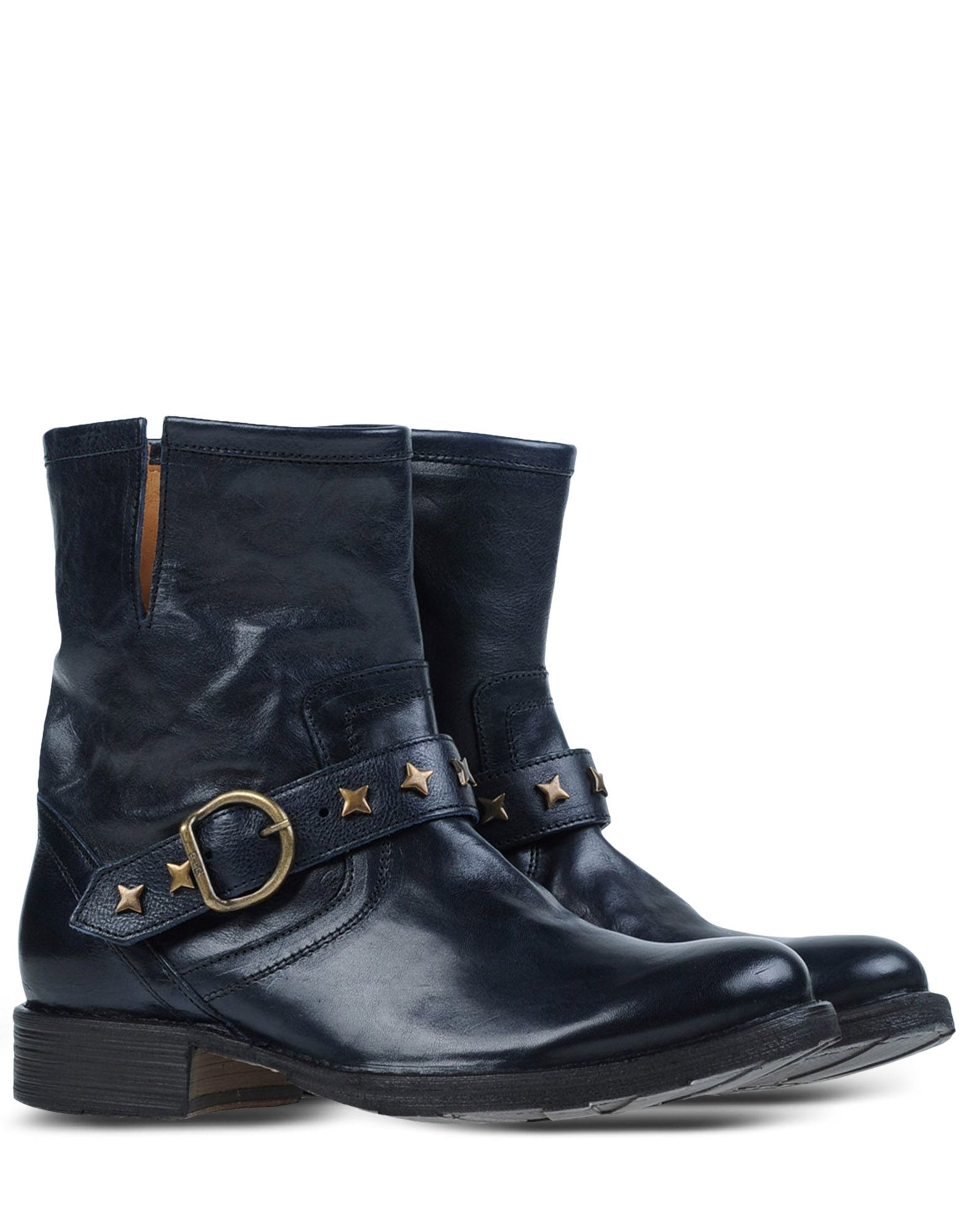 fiorentini baker studded leather ankle boots in blue