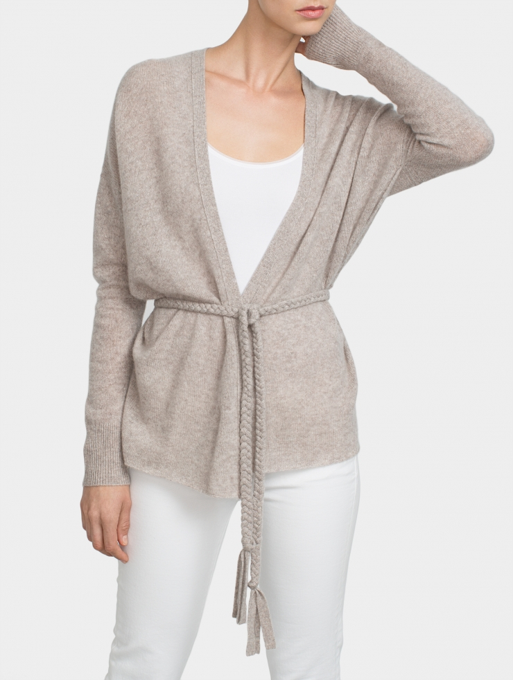 Lyst - White + Warren Cashmere Braided Belt Cardigan in Gray