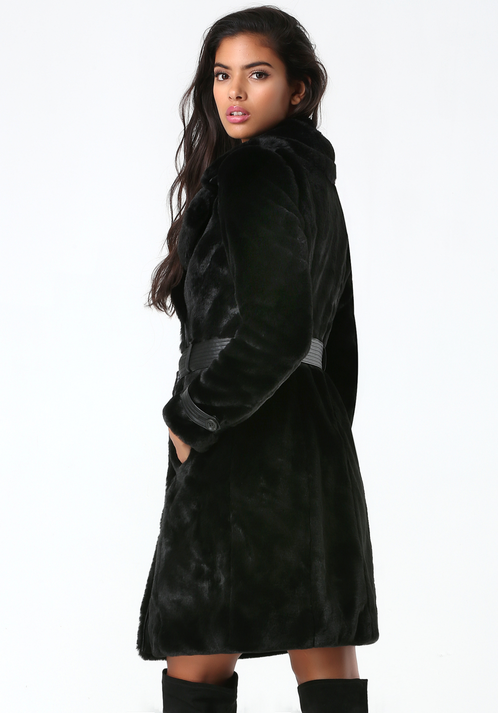 Lyst Bebe Faux Fur Trench Coat In Black