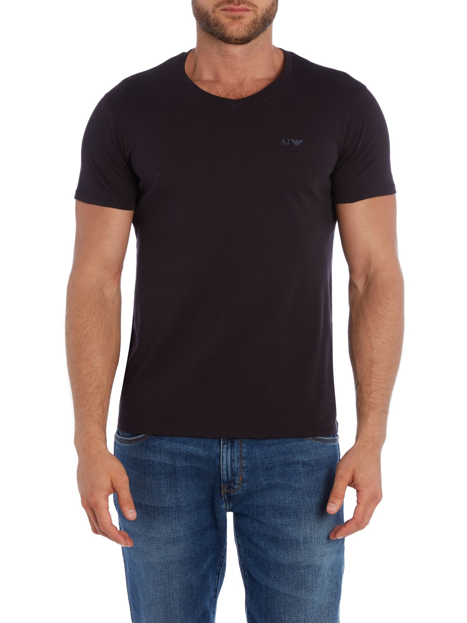 Armani jeans v neck t shirt 2 pack in black for men lyst V neck black t shirt