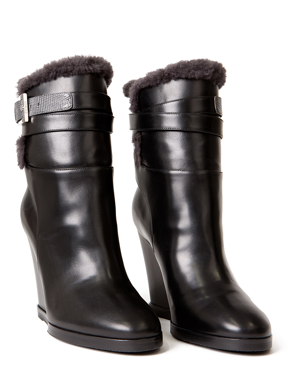 fendi shearling leather wedge boots in black lyst