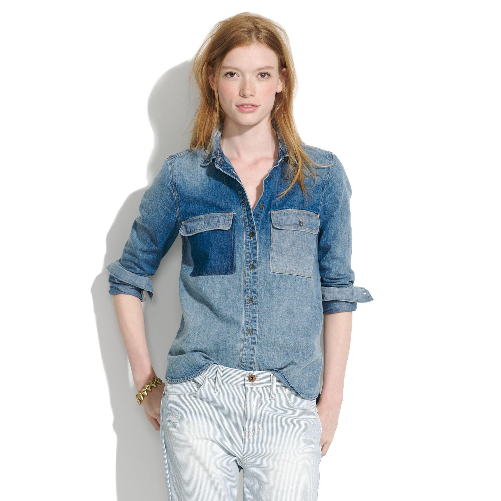 Lyst madewell rivet thread chambray shirt in blue for Chambray shirt women