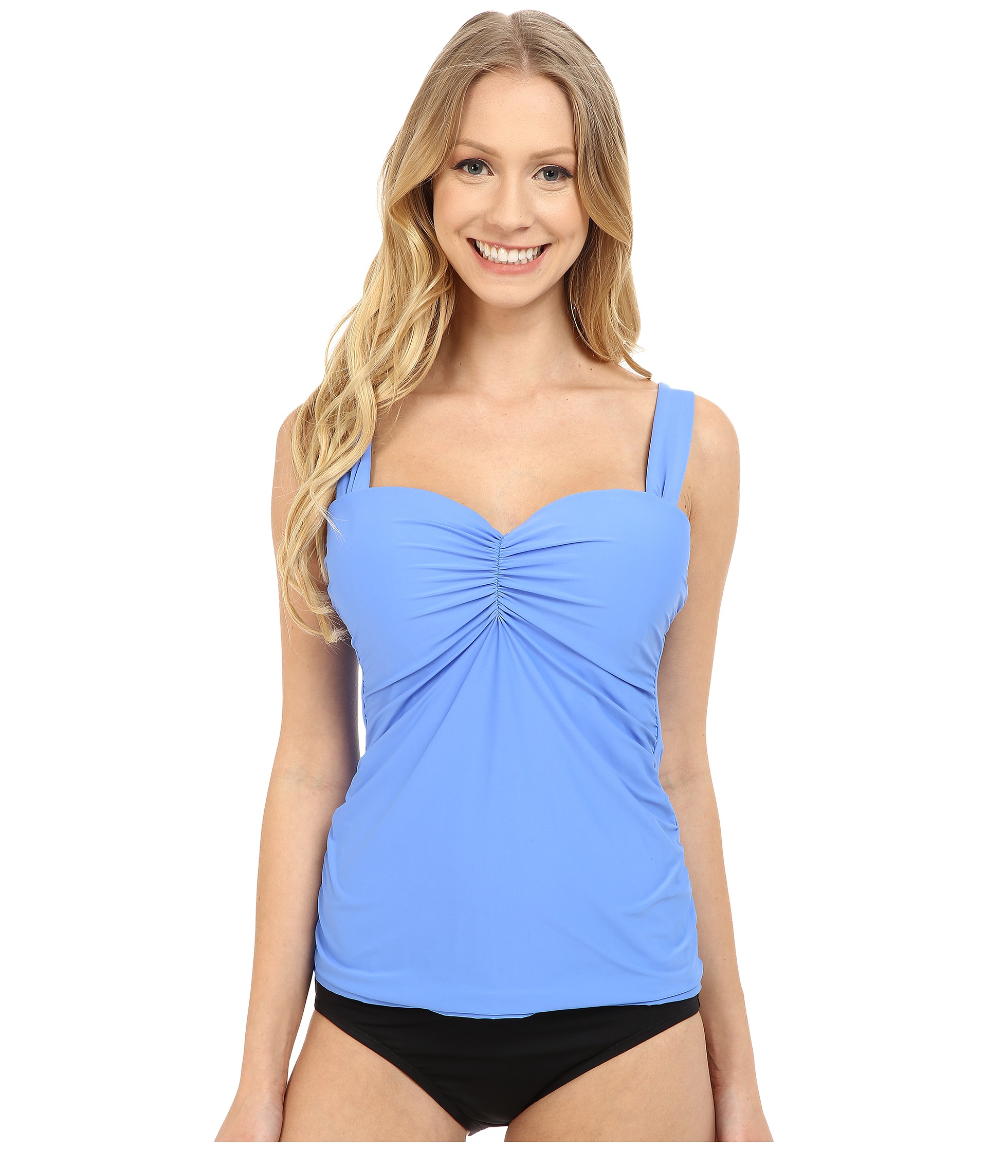 Lyst Athena Cabana Solids D Cup Bandini Top In Blue