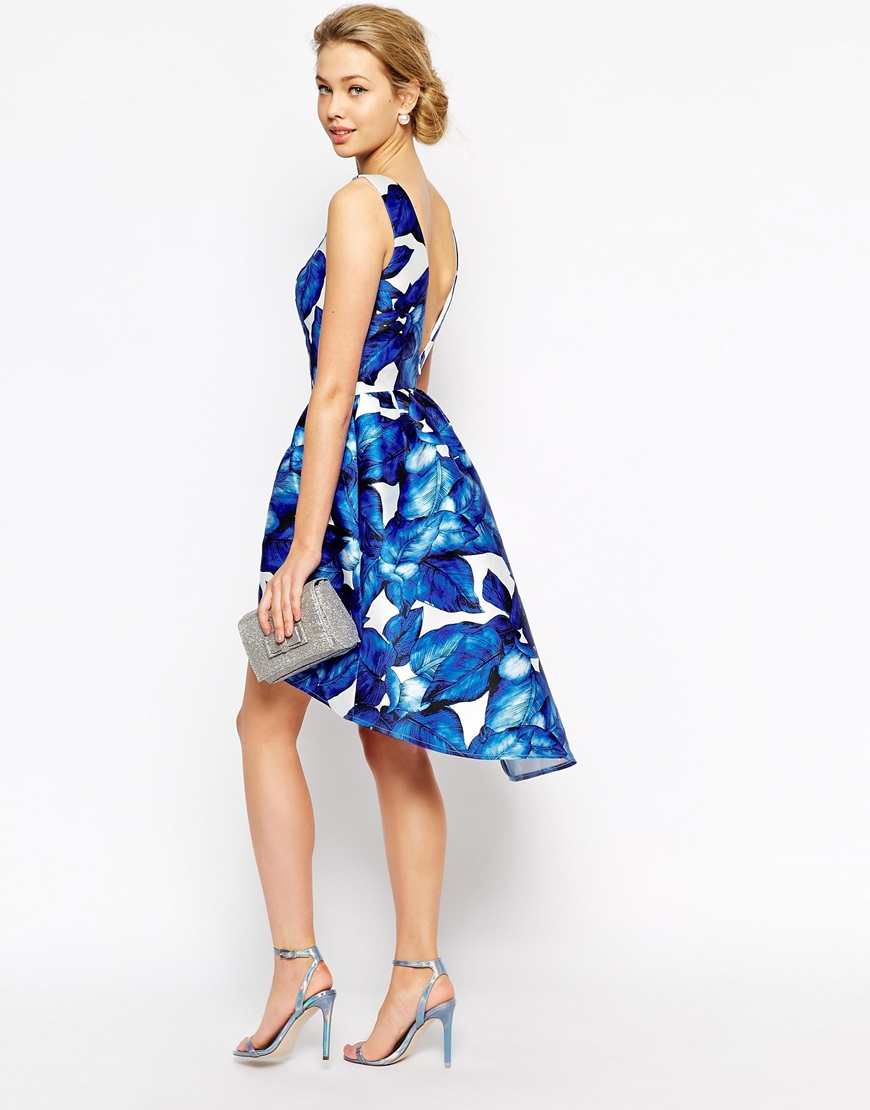 ce389cd1e3e Chi Chi London High Low Full Prom Dress In Large Blue Floral in Blue ...