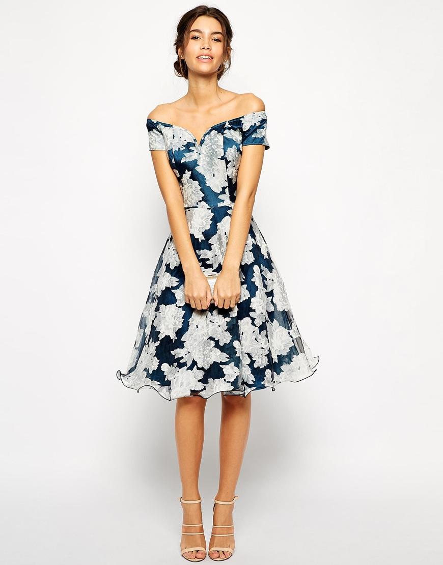 Chi Chi London Printed Organza Midi Prom Dress With Bardot